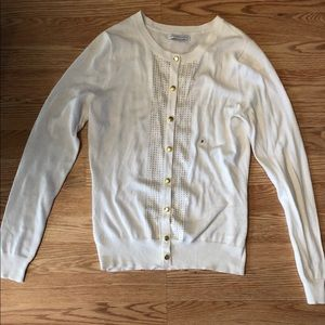 White cardigan with gold details